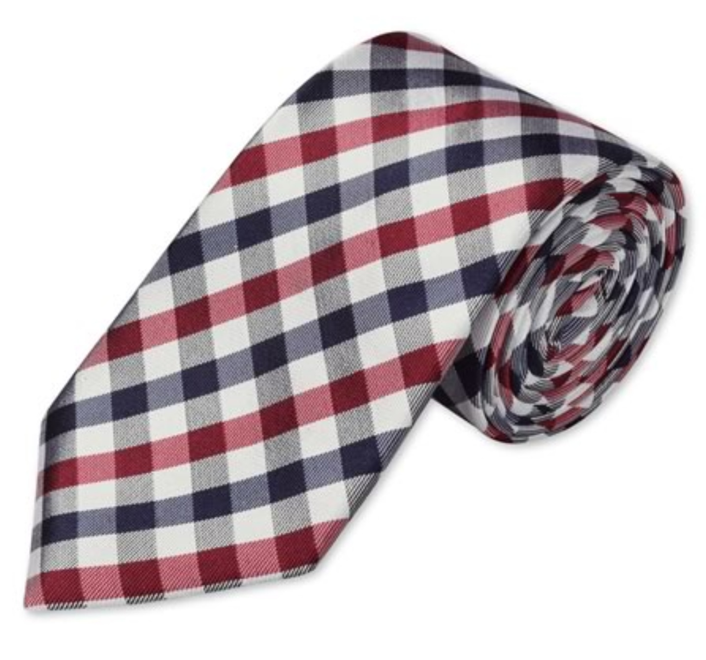 Red & Navy large gingham woven tie